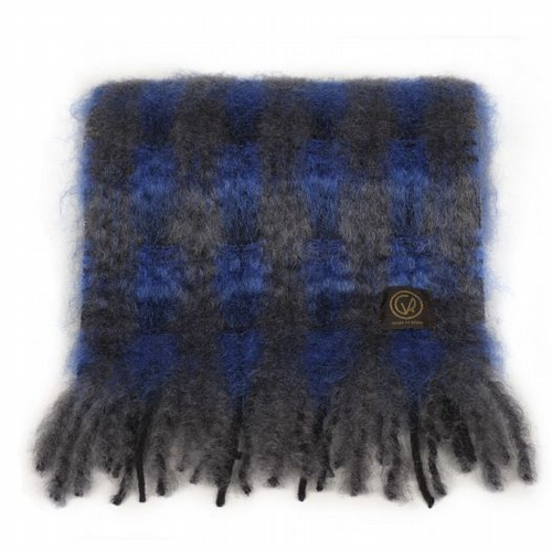 Mohair Scarf - Sapphire / Steel Check